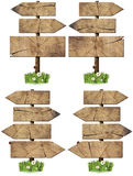 Set of Directional Wooden Signs with Pole Royalty Free Stock Image