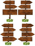 Set of Directional Wooden Signs with Pole Stock Image