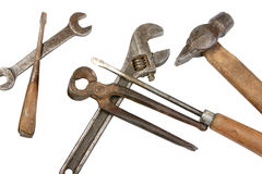 Set of dirty old hand-tools Stock Image