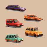Set of dirty vintage american automobile. Cartoon vector illustration Royalty Free Stock Images