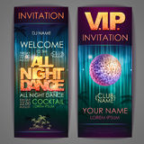 Set of disco background banners. All night dance Stock Photography