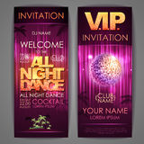 Set of disco background banners. All night dance Stock Photo