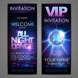 Set of disco background banners. All night dance poster Stock Photography