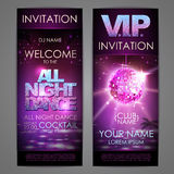 Set of disco background banners. All night dance poster Stock Image