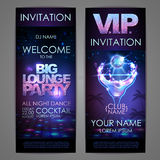 Set of disco background banners. Big lounge cocktail party. Poster Royalty Free Stock Photos