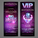 Set of disco background banners. Big lounge cocktail party poster Royalty Free Stock Photo