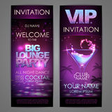 Set of disco background banners. Big lounge cocktail party. Poster Royalty Free Stock Image