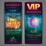 Set of disco background banners. Big lounge party Royalty Free Stock Photography