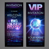 Set of disco background banners. Big lounge party poster Royalty Free Stock Image
