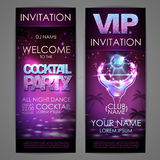 Set of disco background banners. Cocktail party poster. Set of disco background banners. Cocktail party Royalty Free Stock Images
