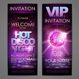Set of disco background banners. Hot disco night poster Stock Photos