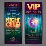 Set of disco background banners. Night club Stock Image