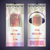 Set of disco background banners. Royalty Free Stock Photos