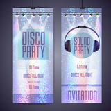 Set of disco background banners. Stock Photo
