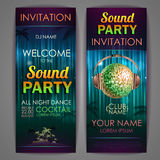 Set of disco background banners. Stock Images