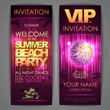 Set of disco background banners. Summer beach party Stock Photos