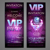 Set of disco background banners. V.I.P. cocktail party. Poster Stock Images