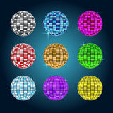 Set of Disco ball vector illustration. Rgb mode Stock Images