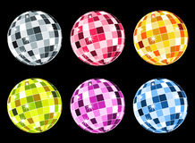 Set of disco balls. Set of six disco balls: silver, red, orange, green, violet and blue. There is anoter vector work with orange ball in my portfolio Stock Photo