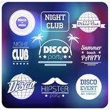 Set of disco labels. Flat design Royalty Free Stock Images