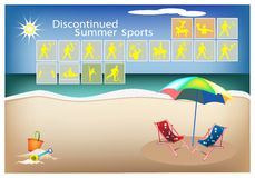 Set of 16 Discontinued Summer Sport Icons Royalty Free Stock Photo