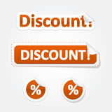 Set of Discount Bent Stickers and Labels Stock Images