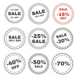 Set of discount black and white line badges. Royalty Free Stock Images