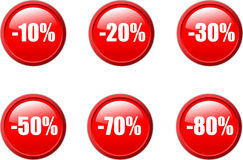 Set of discount buttons. Royalty Free Stock Image