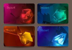A set of discount cards with precious stones. Royalty Free Stock Photo