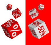 Set of discount dices. On white and red background Stock Image