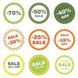 Set of discount eco badges. Special offer. Vector EPS 10 Stock Photography