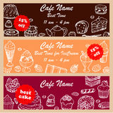 Set discount fliers for cafe and restaurants Stock Photos