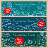 Set discount fliers for fish restaurants Royalty Free Stock Photography