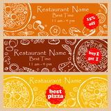 Set discount fliers for pizzeria and restaurants Royalty Free Stock Image