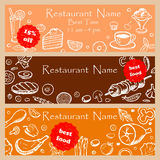 Set discount fliers for restaurants Royalty Free Stock Image