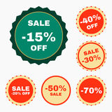 Set of discount gorgeous badges. Special offer. Vector EPS 10 Royalty Free Stock Photography