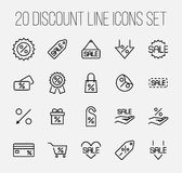 Set of discount icons in modern thin line style. Royalty Free Stock Photography
