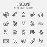 Set of discount icons in modern thin line style. Royalty Free Stock Photo