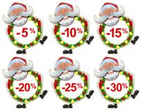 Set discount label Santa Claus Christmas wreath of fir branches. Fun vector cartoon illustration Stock Photo