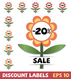 Set of discount labels Stock Photos