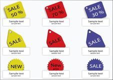 Set of discount labels. Collection of colorful discount labels with space for text, vector royalty free illustration