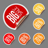 Set of Discount Labels with Curled Gold Edge Royalty Free Stock Image