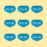 Set of discount labels, vector illustration. Royalty Free Stock Photos