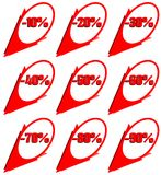 Set of discount lables in red and white. A set of discount labels that can be used in all projects about sales. they have discount from 10 to 90 per cent royalty free illustration