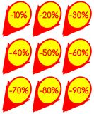 Set of discount lables in red and yellow. A set of discount labels that can be used in all projects about sales. they have discount from 10 to 90 per cent vector illustration