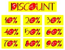 Set of discount lables in red and yellow. A set of discount labels that can be used in all projects about sales. they have discount from 10 to 90 per cent royalty free illustration