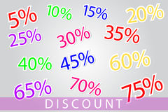 Set of discount numbers Stock Photo