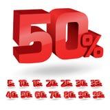 Set of discount percent illustration. Set of percent discount digits. Vector illustration Stock Photos