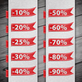 Set of discount percent illustration Stock Photography