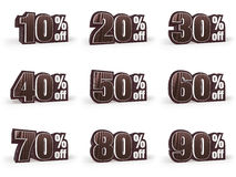 Set of Discount price signs in brown suit look Stock Photography